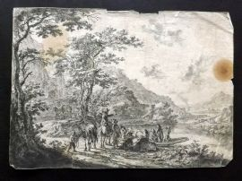 Anon C1700 Etching. Landscape with Figures, Animals & A Boat